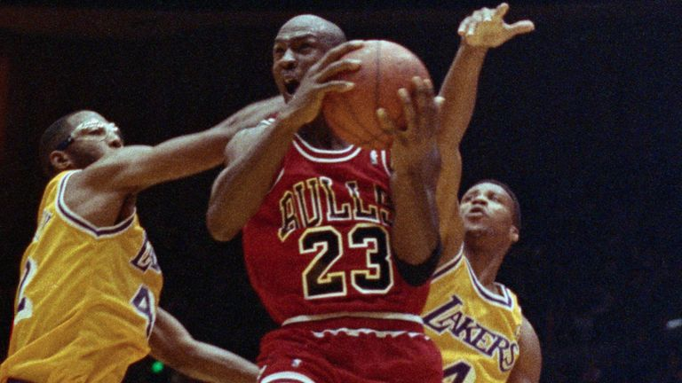 Michael Jordan attacks the basket against the Lakers in the 1991 NBA Finals