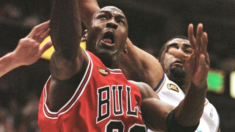 Michael Jordan rises to the rim for a lay-up in Game 6 of the 1998 NBA Finals