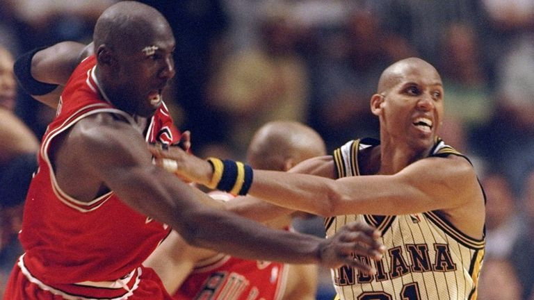 Michael Jordan tangles with Reggie Miller in the 1998 Eastern Conference Finals