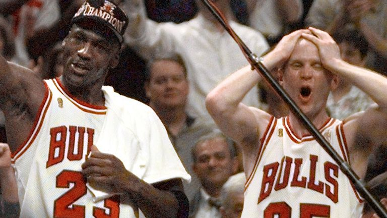 Michael Jordan and Steve Kerr celebrates the Bulls' victory in the NBA Finals