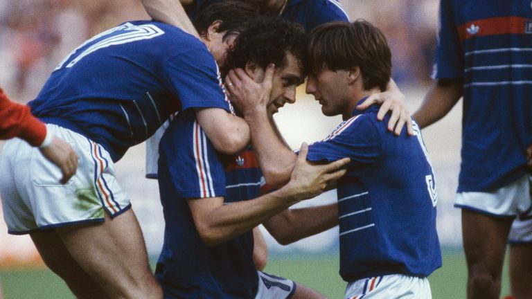 Michel Platini celebrates his goal during the UEFA European Championships final in 1984