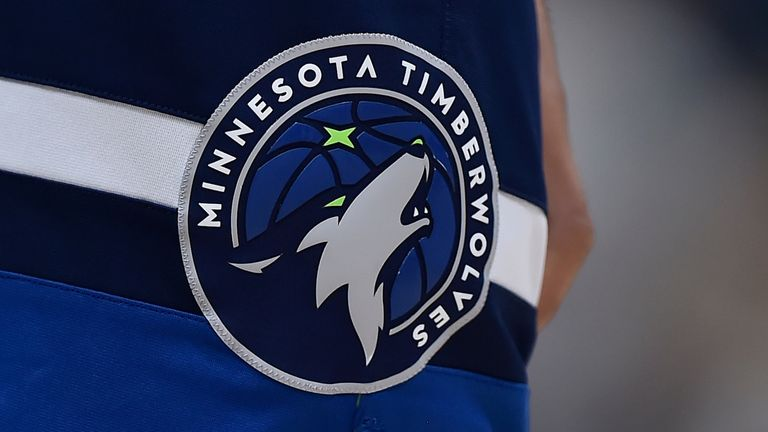 The Minnesota Timberwolves' team logo pictured on a player's shorts