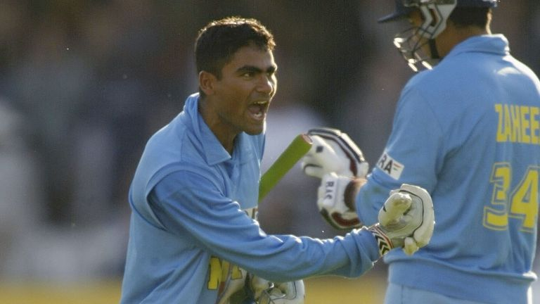 Mohammad Kaif celebrates after his 87 off 75 balls clinched victory for India in the final