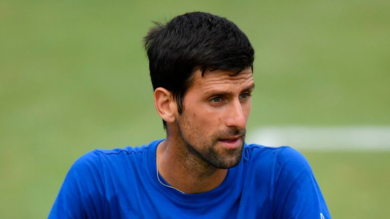 Novak Djokovic posted a video on Instagram showing him rallying with another player at a court in Marbella