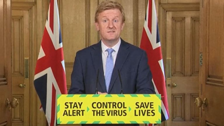 Coronavirus - Wed May 20, 2020 Screen grab of Digital, Culture, Media and Sport Secretary Oliver Dowden during a media briefing in Downing Street, London, on coronavirus (COVID-19).