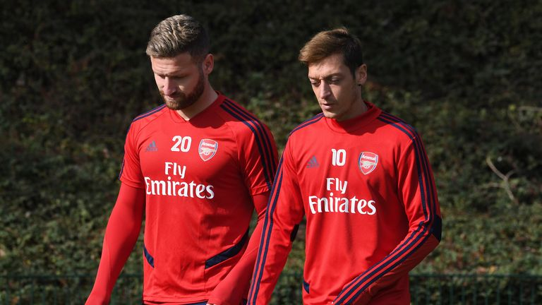ST ALBANS, ENGLAND - SEPTEMBER 23: Mesut Ozil and Shkodran Mustafi of Arsenal before the Arsenal Training Session at London Colney on September 23, 2019 in St Albans, England. (Photo by David Price/Arsenal FC via Getty Images)