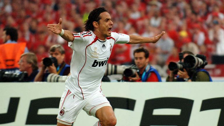 Inzaghi celebrates his second goal for AC Milan against Liverpool