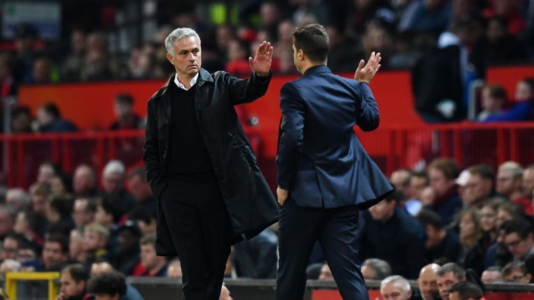 Jose Mourinho, Manager of Manchester United and Mauricio Pochettino, Manager of Tottenham Hotspur give each other a high five after the Premier League match between Manchester United and Tottenham Hotspur at Old Trafford on August 27, 2018