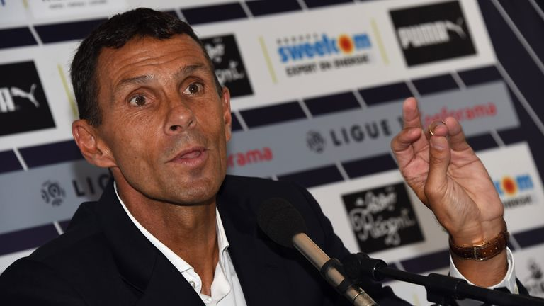 French football Ligue 1 club Bordeaux Girondins Uruguayan new head coach Gustavo Poyet speaks during a press conference presenting Poyet as head coach on January 22, 2018 in Le Haillan, near Bordeaux, southwest France. Bordeaux Girondins Uruguayan new head coach Gustavo Poyet replaces former head coach French Jocelyn Gourvennec. / AFP PHOTO / MEHDI FEDOUACH (Photo credit should read MEHDI FEDOUACH/AFP via Getty Images)