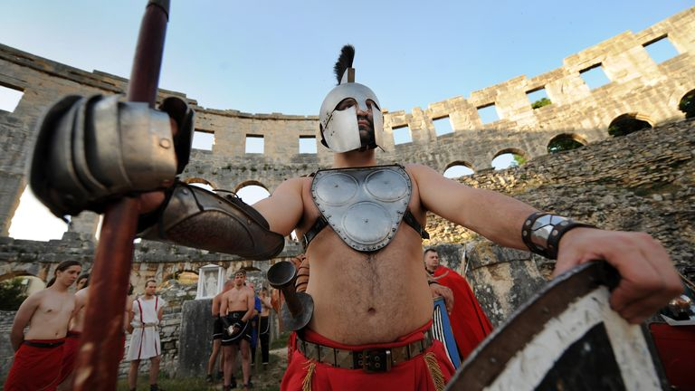 A gladiator performance at the historic location