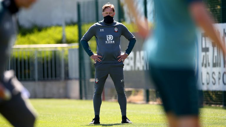 Manager Ralph Hasenhuttl looks on as Southampton's players train following lockdown