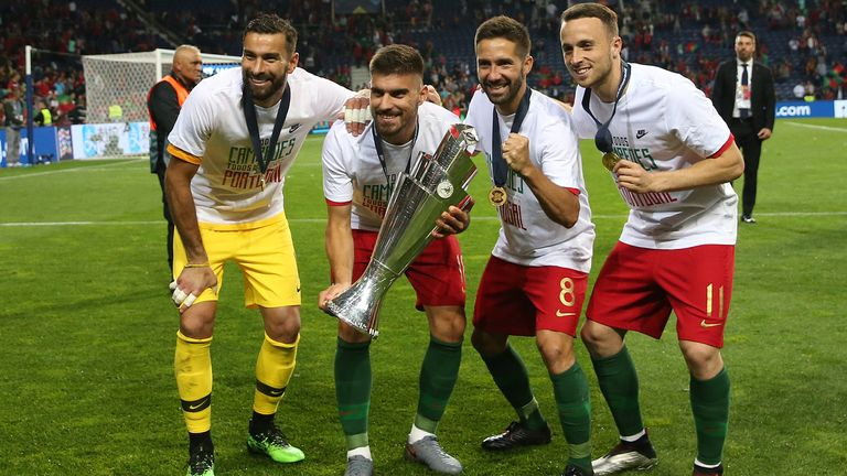 Wolves players Rui Patricio, Ruben Neves, Joao Moutinho and Diogo Jota with the Nations League trophy
