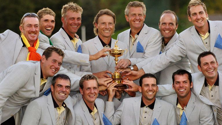 Europe celebrating a record victory at the 2004 Ryder Cup