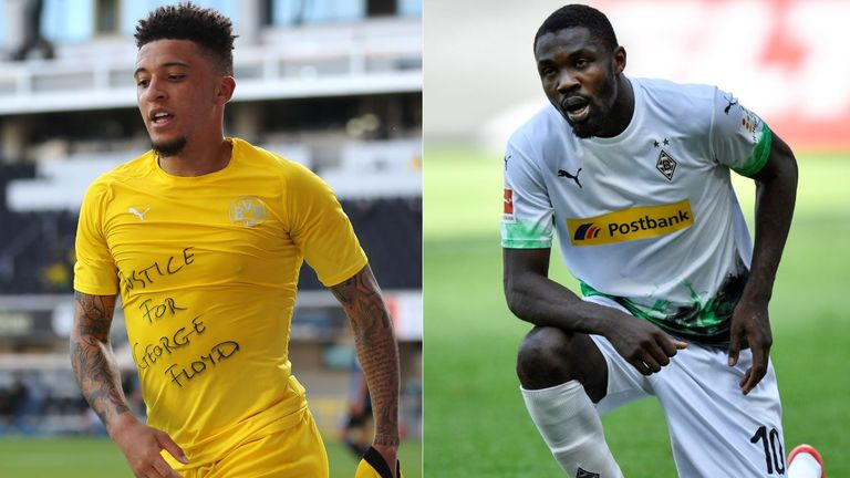 Jadon Sancho and Marcus Thuram both paid tribute to George Floyd on Sunday