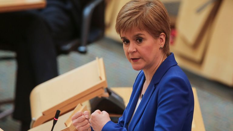 Scotland's First Minister Nicola Sturgeon has been briefing the Scottish Assembly on the country's next coronavirus steps