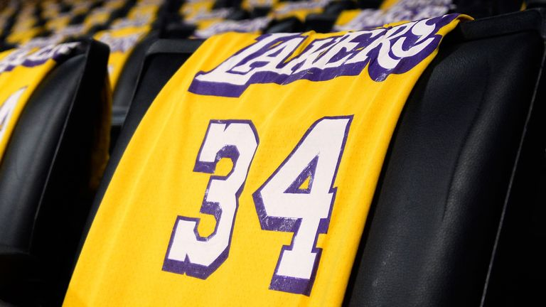 Shaquille O'Neal's No 34 Lakers jersey adorns a seat at the Staples Center