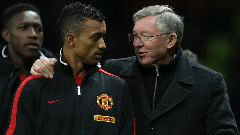 Nani and Sir Alex Ferguson won four Premier League titles, the Champions League, and two League Cups together