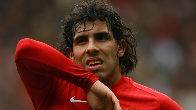 Carlos Tevez of Manchester United looks on during the Barclays Premier League match between Manchester United and Manchester City at Old Trafford on May 10, 2009