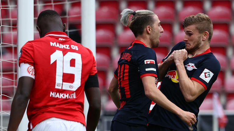 Timo Werner attempts a no-contact celebration during RB Leipzig's 5-0 rout of Mainz