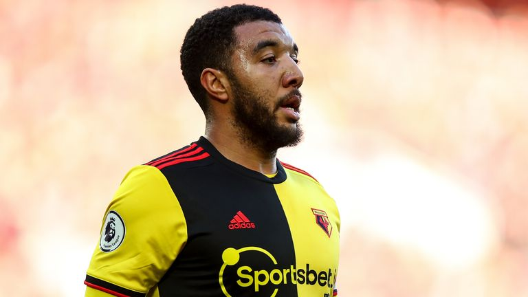 Troy Deeney during a Premier League game at Anfield
