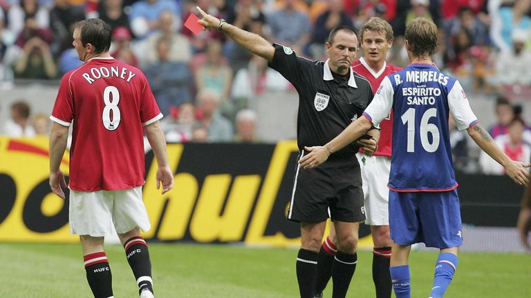 Wayne Rooney is sent off during a pre-season match against Porto