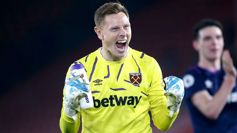David Martin celebrates his second clean sheet against Southampton