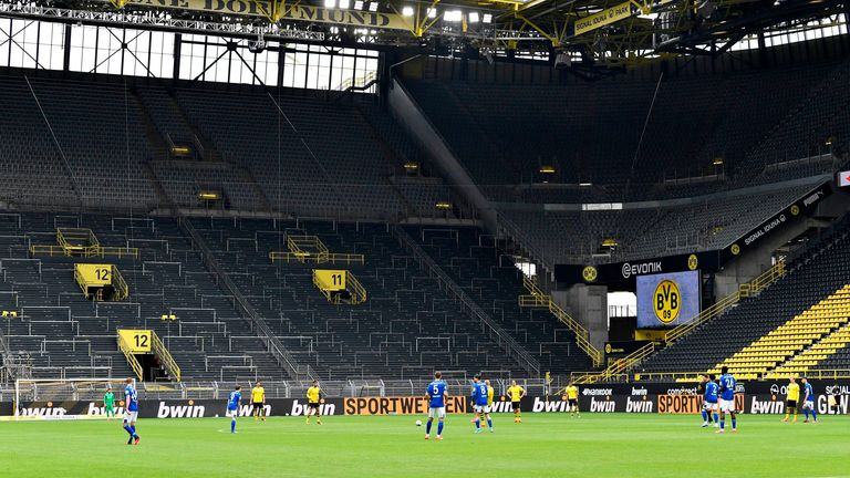 Germany's largest stadium was practically empty as top-flight football returned