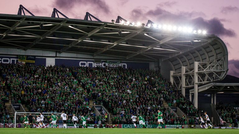 Windsor Park is Northern Ireland's home ground, seen here while hosting a European Qualifier against Germany in 2019