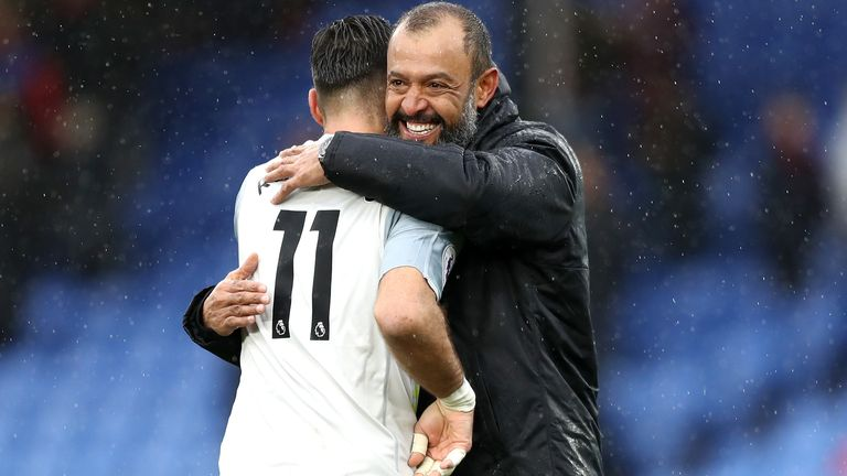 Rui Patricio and Nuno Espirito Santo during the Premier League match between Crystal Palace and Wolverhampton Wanderers at Selhurst Park on October 6, 2018 in London, United Kingdom.