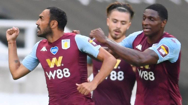 Ahmed Elmohamady celebrates after equalising for Aston Villa at Newcastle