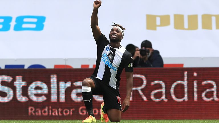 Allan Saint-Maximin takes a knee as he celebrates his opening goal against Sheffield United