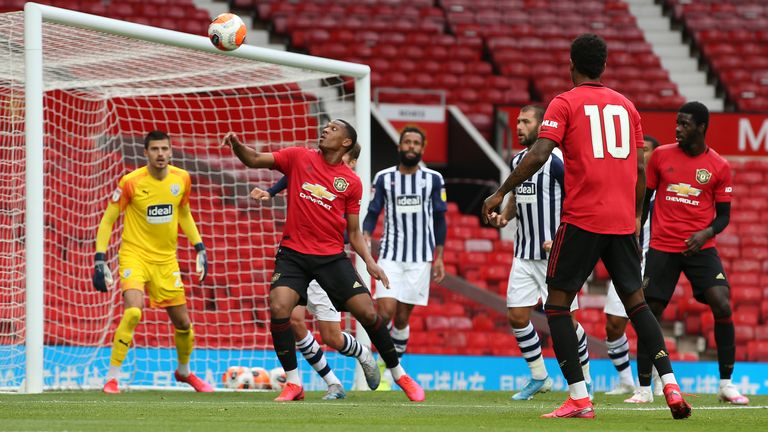 Anthony Martial looks to control the ball during the first game against West Brom
