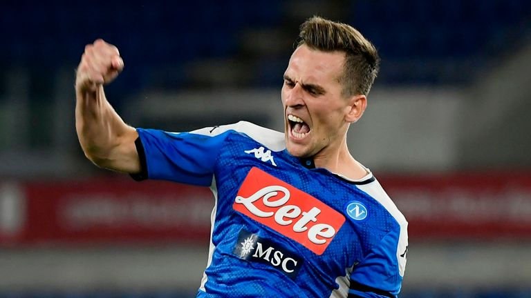 Napoli forward Arkadiusz Milik celebrates his decisive spotkick