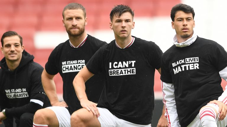 Arsenal's players took a knee and wore T-shirts in support of Black Lives Matter before their recent friendly against Brentford