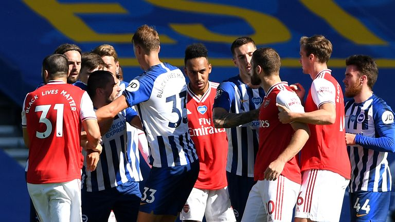 Tempers flared between Brighton and Arsenal players at the end of Saturday's match