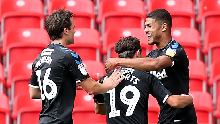 "Middlesbrough's Ashley Fletcher celebrates scoring his side's first goal of the game during the Sky Bet Championship match at the bet365 Stadium, Stoke. PA Photo. Issue date: Saturday June 27, 2020. See PA story SOCCER Stoke. Photo credit should read: David Davies/PA Wire. RESTRICTIONS: EDITORIAL USE ONLY No use with unauthorised audio, video, data, fixture lists, club/league logos or ""live"" services. Online in-match use limited to 120 images, no video emulation. No use in betting, games or single club/league/player publications."