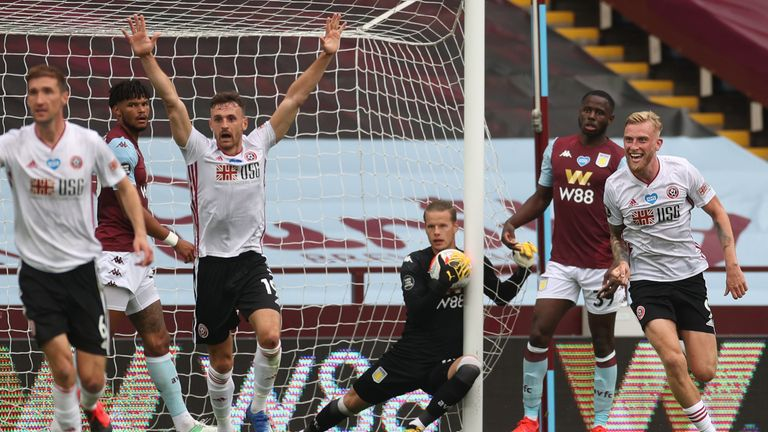 Aston Villa goalkeeper Orjan Nyland carried the ball over the line during the goalless draw against Sheffield United - but it was not picked up by Hawk-Eye