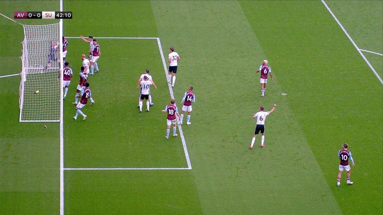 Aston Villa's Orjan Nyland appears to carry the ball over the line