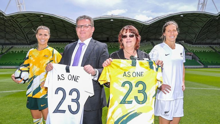 Players and officials from Australia and New Zealand's bid at its launch last year