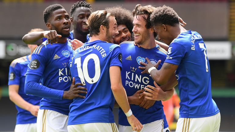 Ben Chilwell celebrates with his Leicester team-mates after scoring against Watford