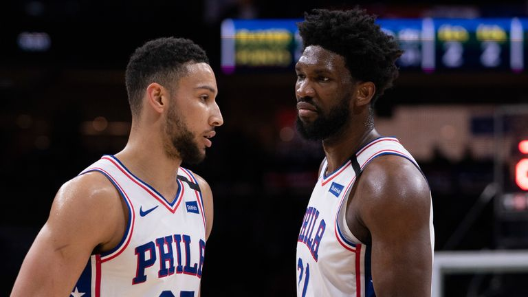 Ben Simmons and Joel Embiid on court together for the Philadephia 76ers