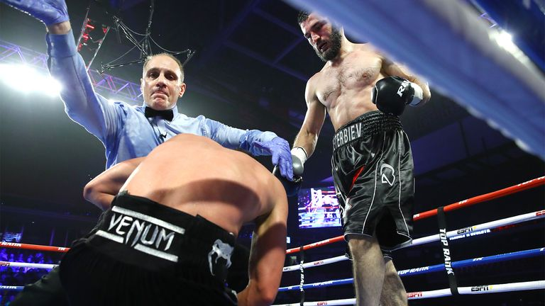 Beterbiev floored Gvozdyk three times