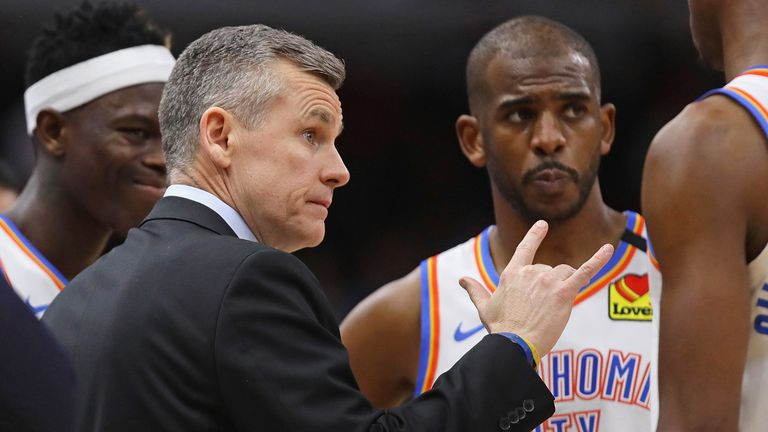 Billy Donovan issues instructions during an OKC timeout