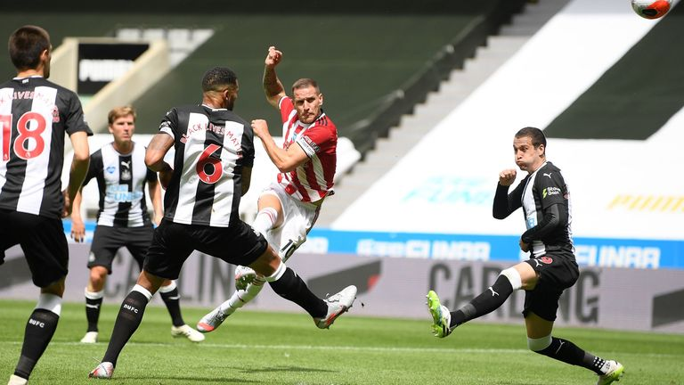 Striker Billy Sharp hooks a half chance over the bar during the first half