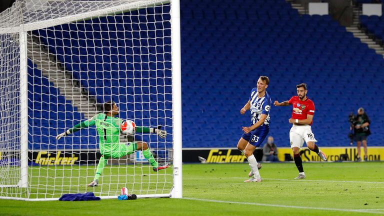 Bruno Fernandes stunning volley sealed United's win at Brighton in style