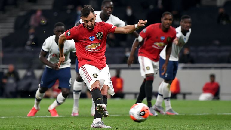 Manchester United's Bruno Fernandes levels from the penalty spot at Tottenham