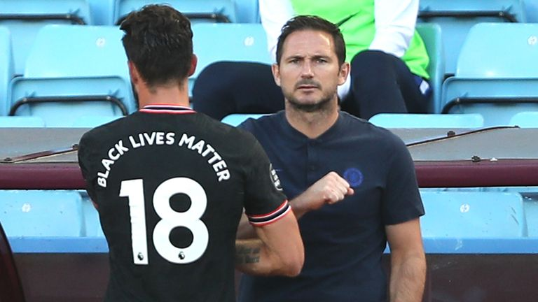 Chelsea striker Olivier Giroud and manager Frank Lampard