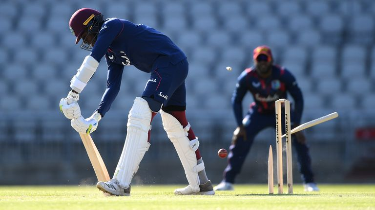 Joseph broke the stump of fellow quick Chemar Holder during West Indies' first intra-squad warm-up at Emirates Old Trafford