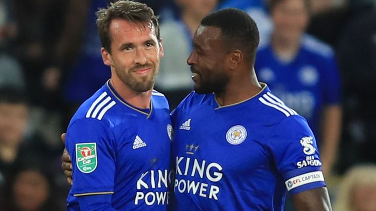 LEICESTER, ENGLAND - AUGUST 28: Christian Fuchs of Leicester City celebrates scoring the opening goal with Wes Morgan during the Carabao Cup Second Round match between Leicester City and Fleetwood Town at The King Power Stadium on August 28, 2018 in Leicester, England. (Photo by Marc Atkins/Getty Images)