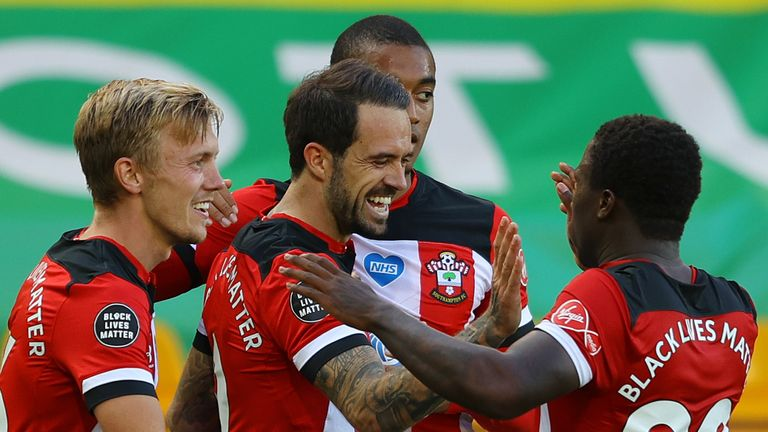 Danny Ings celebrates after putting Southampton 1-0 up at Norwich